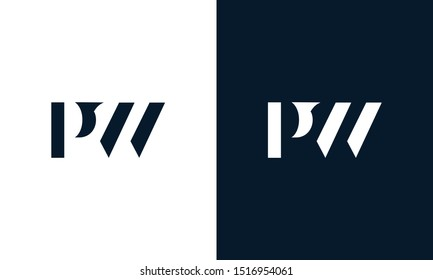 Modern abstract letter PW logo. This logo icon incorporate with two abstract shape in the creative way.