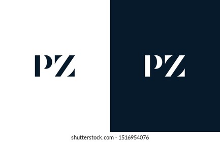 Modern abstract letter PZ logo. This logo icon incorporate with two abstract shape in the creative way.