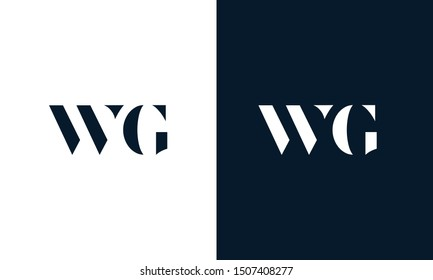 Modern abstract letter WG logo. This logo icon incorporate with two cut out shape in the creative way.