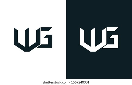 Modern abstract letter WG logo. This logo icon incorporate with two abstract shape in the creative process.