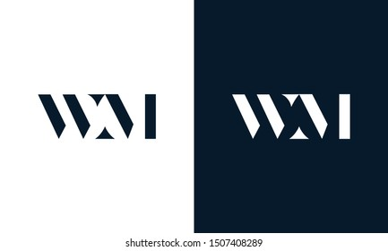 Modern abstract letter WM logo. This logo icon incorporate with two cut out shape in the creative way.