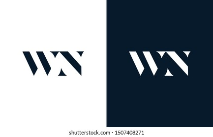 Modern abstract letter WN logo. This logo icon incorporate with two cut out shape in the creative way.