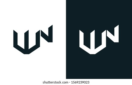 Modern abstract letter WN logo. This logo icon incorporate with two abstract shape in the creative process.