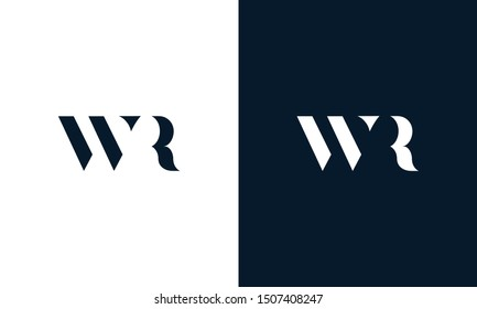 Modern abstract letter WR logo. This logo icon incorporate with two cut out shape in the creative way.
