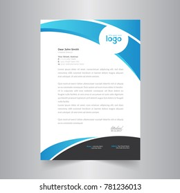 modern abstract letterhead design with clean blue shapes