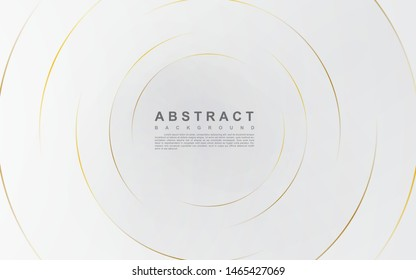 Modern abstract light silver background vector. Elegant circle shape design with golden line.