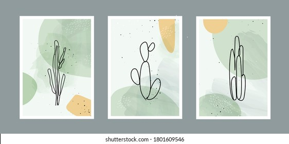 Modern abstract line cactus in lines and arts background with different shapes for wall decoration, postcard or brochure cover design. Vector  illustrations design