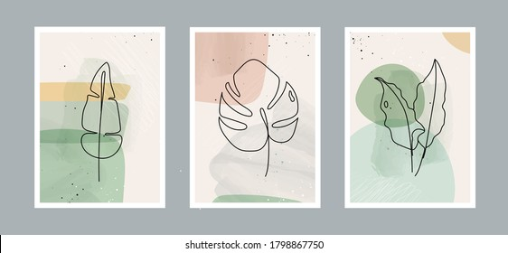Modern abstract line leaves in lines and arts background with different shapes for wall decoration, postcard or brochure cover design. Vector  illustrations design