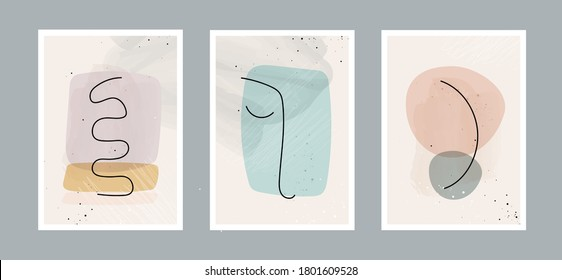 Modern abstract line minimalistic arts background with different shapes for wall decoration, postcard or brochure cover design. Vector illustrations design.