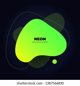 Modern abstract liquid neon banner. Flat gradient yellow to green amoeba frame on black background. Template for trendy style design of a poster, logo, flyer of presentation. EPS10 Illustration