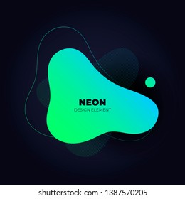 Modern abstract liquid neon banner template. Flat gradient green to blue amoeba frame on black background. Template for trendy style design of a poster, logo, flyer of presentation. EPS10 Illustration