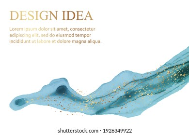 Modern abstract luxury background design or card template for birthday greeting or wallpaper or poster with blue watercolor wave or fluid art in alcohol ink style with golden glitter on a white.