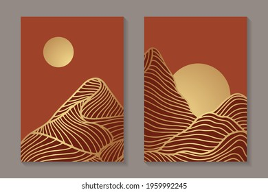 Modern abstract luxury background or elegant card design with golden mountains and sun with red sky or sunset.