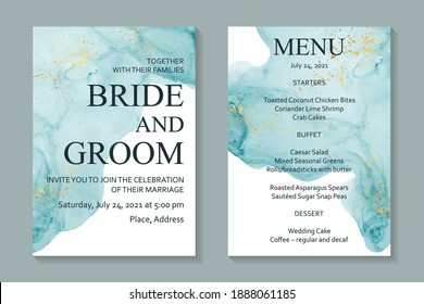 Modern abstract luxury wedding invitation design or card templates for birthday greeting or certificate or cover with teal blue watercolor waves or fluid art in alcohol ink style with gold on a white.