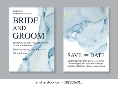 Modern abstract luxury wedding invitation design or card templates for birthday greeting or certificate or cover with blue watercolor stains or fluid art in alcohol ink style with gold on a white.