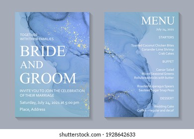 Modern abstract luxury wedding invitation design or card templates for birthday greeting or certificate or cover with blue watercolor waves or fluid art in alcohol ink style with golden glitter.