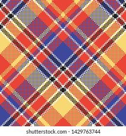Modern abstract madras plaid seamless pattern. Vector illustration.