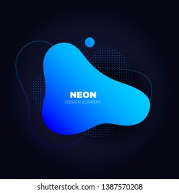 Modern abstract neon amoeba banner template. Flat gradient ultramarine to blue liquid style frame on black. Template for trendy design of a poster, logo, flyer of presentation. EPS10 Illustration