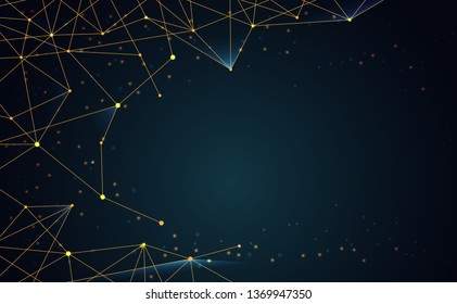 Modern abstract network science connection technology gold line premium dot and graphic design. on hi tech future blue background network. for template,web design wallpaper,poster,presentation.