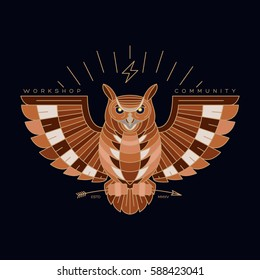 Modern abstract owl bird illustration. Thin line vector design logo, label and emblem