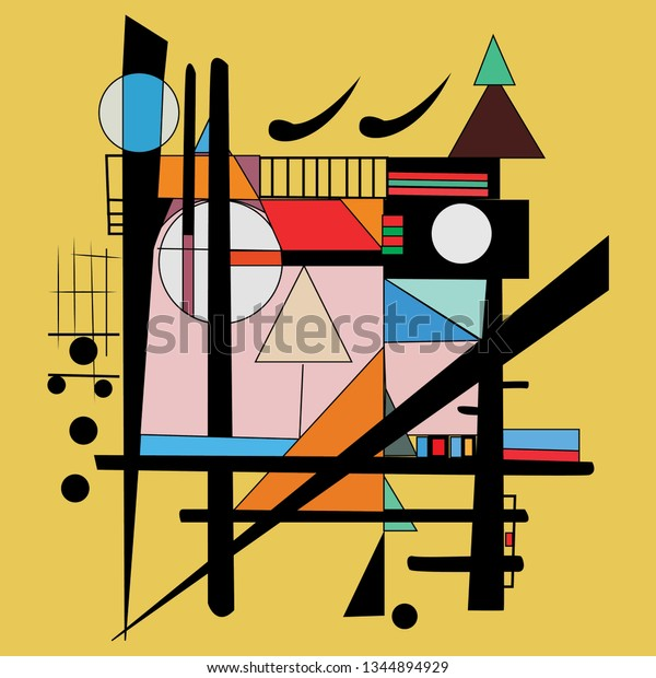 Modern Abstract Painting Geometrical Shapes Wall Stock