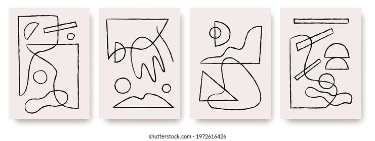 Modern abstract painting. Abstract posters art set. Hand drawn various shapes. Trendy contemporary design  for poster, banner,greeting card, flyer, social media post, story etc.