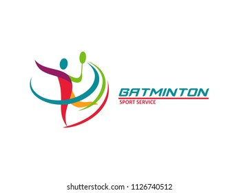 Modern abstract Passionate Badminton Player In Action Logo, Aggressive Jumping Smash, vector illustration
