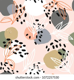 Modern abstract pattern collection. Hero pattern with brush strokes, shapes and floral elements. Trendy pastel colors. Minimalist digital. Fabric print, wrapping paper, poster, flyer, banner design.