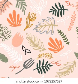 Modern abstract pattern collection. Minimalist trendy floral elements. Hero pattern with pastel naive plants. Digital art. Fabric print, wrapping paper, poster, flyer, banner design.