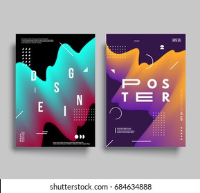 Modern abstract posters. Cool gradient shapes composition. Futuristic design. Eps10 vector.