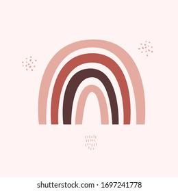 Modern Abstract Rainbow for kids room poster. Geometric Scandinavian wall art print. Rust Art design shape.