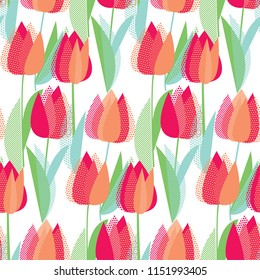 Modern abstract red tulip flowers seamless pattern.  Decorative vector illustration repeatable motif for background, wrapping paper, fabric, surface design