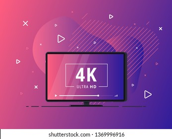 Modern abstract screen tv with 4k Ultra HD video technology. LED television set on geometric liquid background with high definition digital tech symbol. Vector Illustration.