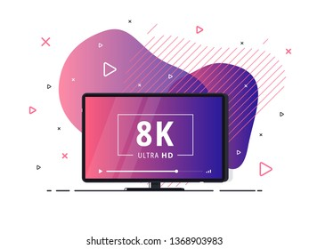 Modern abstract screen tv with 8k Ultra HD video technology. LED television set on geometric liquid background with high definition digital tech symbol. Vector Illustration.