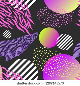 Modern abstract seamless pattern. Geometric poster decorated with different stripes, gradient shapes and striped circles.