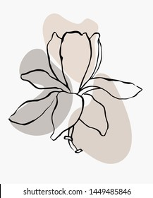 Modern abstract shapes vector background or layout. Contour line drawing flower of magnolia.  Modern minimalism art, aesthetic contour. Pastel Scandinavian color palette.