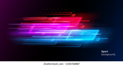 Modern abstract sport background. Trendy geometric neon collage for speed movement. Night race advertising. Dynamic cover or colourful layout for sport event. Banner or poster for motion
