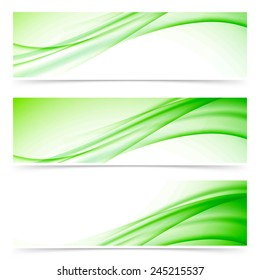 Modern abstract swoosh line header set. Vector illustration