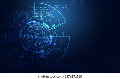 Modern Abstract technology concept communication circle digital circuits on blue background and innovation hi tech future design background,vector illustration