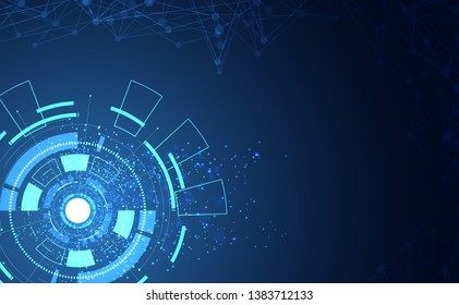 Modern Abstract technology concept communication circle digital on blue background.