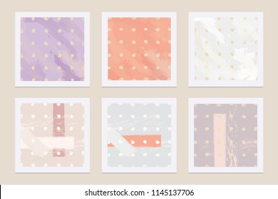 Modern abstract template cards with paint brushed textures in soft pastel colors
