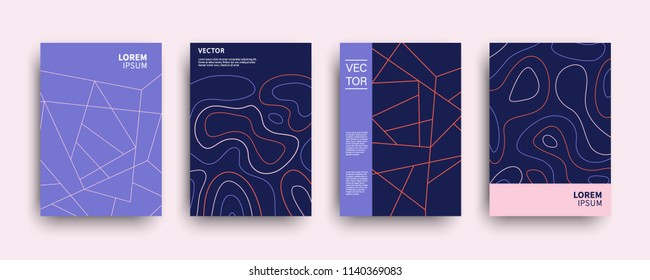 Modern abstract topography geometric covers set. Minimal creative templates design. Cool poster background composition. Vector illustration.