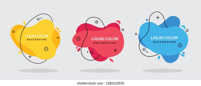 Modern abstract vector banner set. Flat geometric liquid form with various colors with black lines in the design. Modern vector template. EPS 10