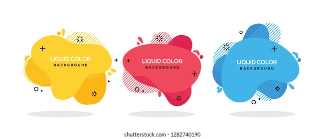 Modern abstract vector banner set. Flat geometric liquid form with various colors. Modern vector template,  Template for the design of a logo, flyer or presentation. EPS 10