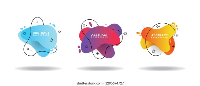 Modern abstract vector banner set. Flat geometric liquid shapes with various colors. Modern vector templates, templates for logo, flyer or presentation designs. EPS 10