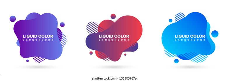 Modern Abstract Vector Banner Set. Geometric Liquid Background with Various Colors. Abstract Background Template.
