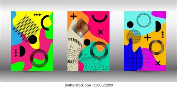 Modern abstract vector banner set. Colorful trendy illustration.  Minimal geometric shape. Creative vector banner illustration. - Shutterstock ID 1833561238