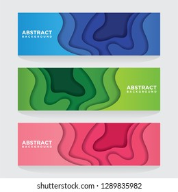 Modern abstract vector banners with 3D abstract backgrounds and paper cutouts. Modern vector templates, templates for business presentation designs, leaflets, posters and invitations. EPS 10