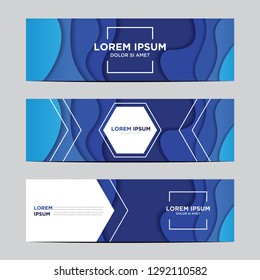 Modern abstract vector banners with 3D abstract blue backgrounds and paper cutouts. Modern vector templates, templates for business presentation designs, leaflets, posters, and invitations. EPS 10