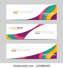 Modern abstract vector banners with colorful abstract 3D backgrounds and paper cutouts. Modern vector templates, templates for business presentation designs, leaflets, posters, and invitations. EPS 10